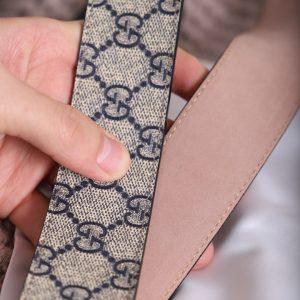 Dây nịt Gucci với da bê và vải canvas