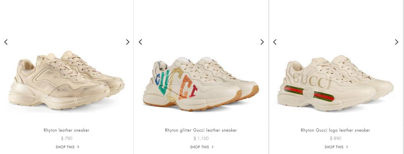 Giá bán giày Gucci sneaker nữ