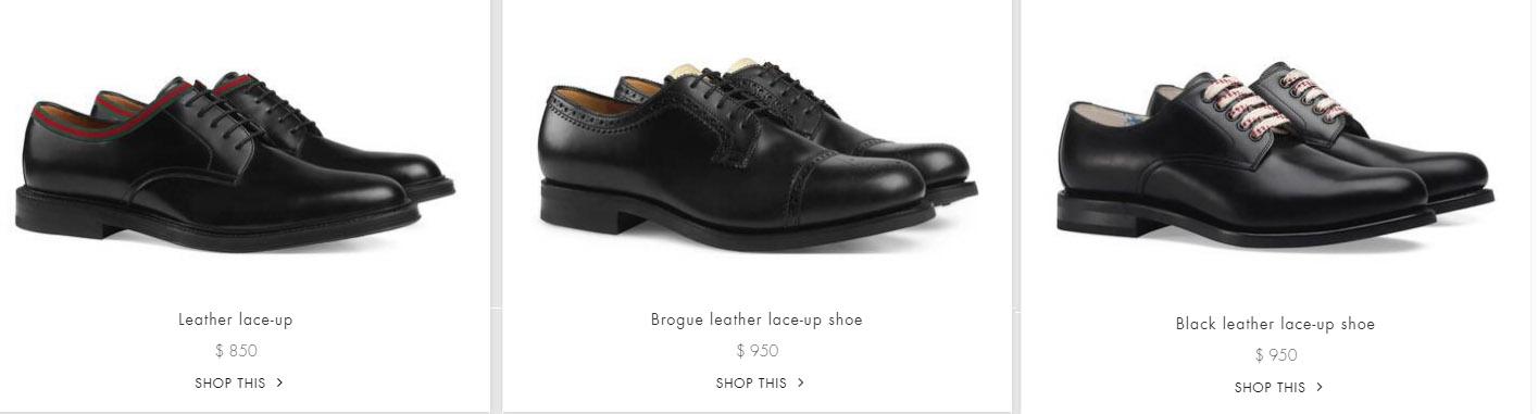 Giá bán giày da Gucci nam buộc dây