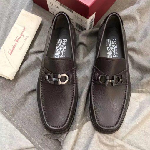 Giày nam Savato Ferragamo màu nâu da sần