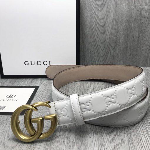 Thắt lưng Gucci nam mặt khóa vàng giả cổ