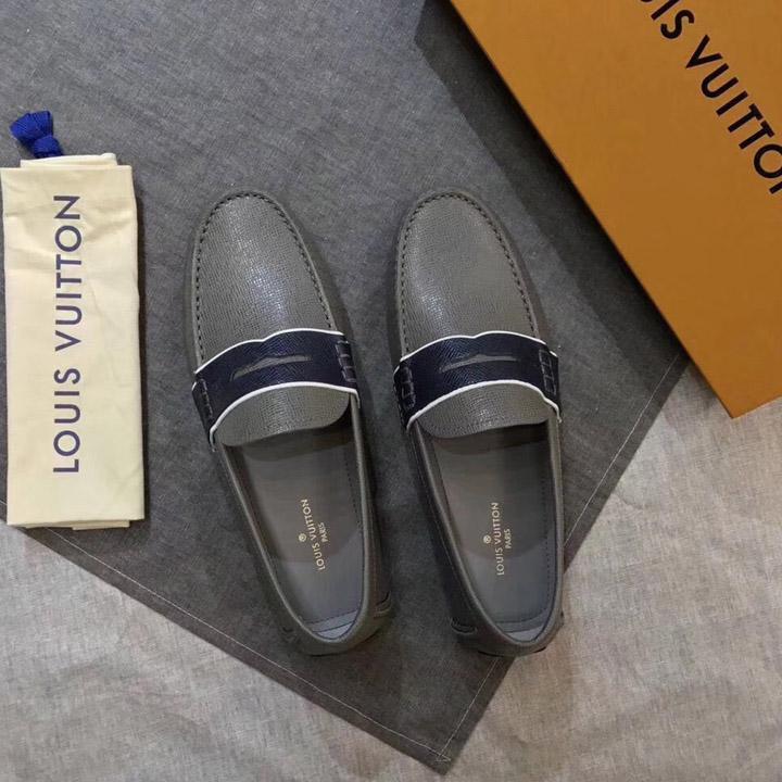 Giày Moccasin LV màu xám