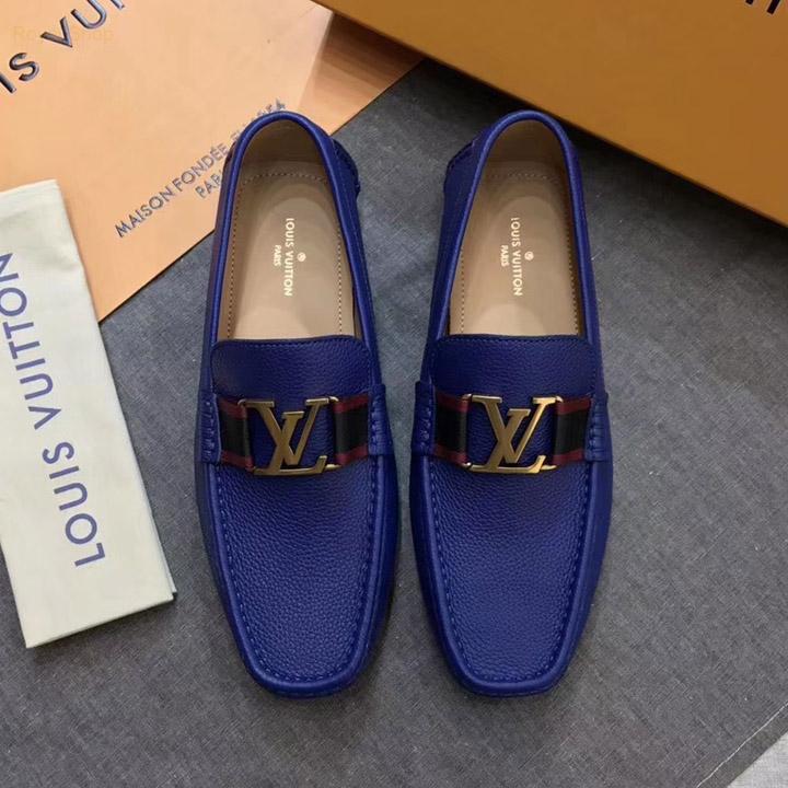 Giày nam LV siêu cấp màu xanh đế bệt