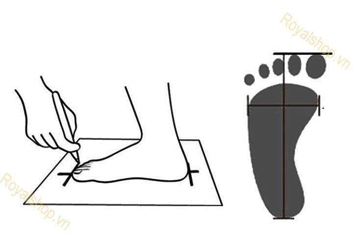 Cách đo chân chọn size giày LV
